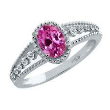 1.12 Ct Oval Pink Created Sapphire and White Topaz 925 Sterling Silver Ring