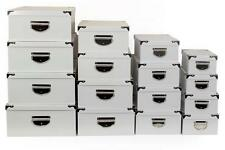 Big Metal Handle White Strong Cardboard Craft A4 Paper Home Office Storage Boxes