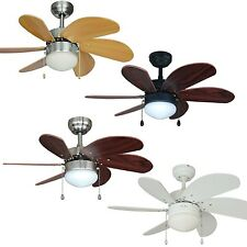 30 Inch Ceiling Fan with Light Kit - Oil Rubbed Bronze, Satin Nickel or White