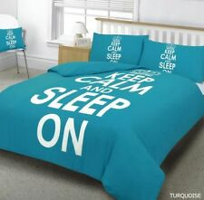 New Keep Calm Sleep On Bed Set  Turquoise  Duvet Cover + Pillowcases