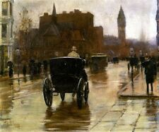 COLUMBUS AVENUE RAINY DAY 1885 CARRIAGE BOSTON PAINTING BY CHILDE HASSAM REPRO