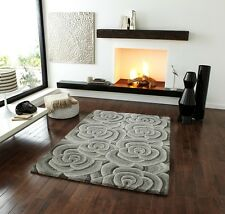 Cheap Extra Thick Grey 3D Style Flower Design Mat Modern Hand Tufted Wool Rugs