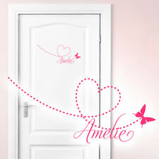 Wall Decal Sayings Your Name W804 Kid's Room Wall Tattoos Butterfly Heart