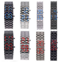 Lava Iron Samurai Metal Red/Blue LED Men/Women Faceless Bracelet Wrist Watch