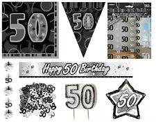 50th Birthday/Age 50 - BLACK/SILVER Party Items, Decorations, Tableware