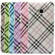 1x New Plaid Checker design Hard Case cover for HTC One M7