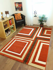 New Terracotta Chocolate Brown Cream Beige Box Design Modern Havana Rug For Sale