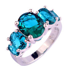 Chic Oval Cut Green Sapphire Gemstones Silver Ring Jewelry Gift Size 6 7 8 9 10
