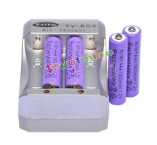 4x  AAA 3A Purple Color 1.2V Ni-MH 1800mAh Rechargeable Battery + Charger
