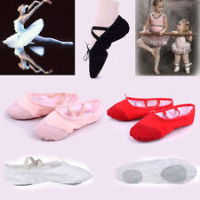 New Lady Girls Kid Canvas Ballet Dance Flat Shoes Slippers Foot length 18-24.5cm