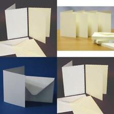 C6 White Ivory Plain Deckle 50 Cards and Envelopes 250g 225g 100g Card Craft UK