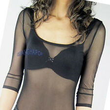 Women Scoop Neck Sheer T-shirt Top Dots Lace See-through Sexy Tee 3/4 Sleeve New