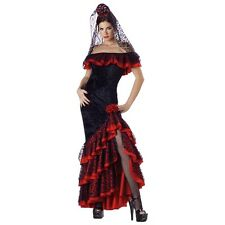 Flamenco Dancer Costume Adult Senorita Halloween Fancy Dress