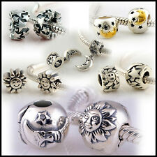 925 Solid Sterling Silver Sun Star Moon Bead fit European Charm Bracelet