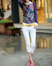 Fashion Women Long Sleeve Shirts Floral Print Colorful Gem Collar Chiffon Blouse