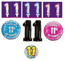 11th Birthday AGE 11 - Range of Party BALLOONS, BANNERS, CANDLES & BADGES