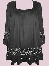 Black Milano Jersey Pleated Border Print Top by Alison B Sizes UK 14 to 28 NEW