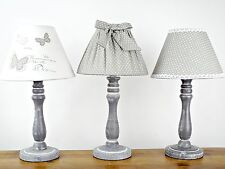 GREY WHITE TABLE LAMP BUTTERFLY BOW SPOTS SHADE LIGHT CHIC SHABBY HOME LINEN