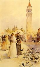 FEEDING PIGEONS IN THE PIAZZA 1883 VENICE ITALY PAINTING BY CHILDE HASSAM REPRO