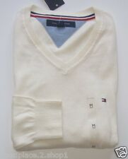 Tommy Hilfiger Mens Fence White V-Neck Sweater