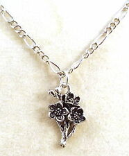 Pewter Cherry Blossom Charm on a Silver Plated Figaro Chain Necklace -  0858