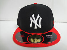 New York Yankees New Era 59Fifty Cap Flat Brim Fitted Diamond Pop Black Red Hat