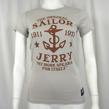 Authentic SAILOR JERRY Tattoo My Work Logo Girl Juniors Silver T-Shirt S-XL NEW
