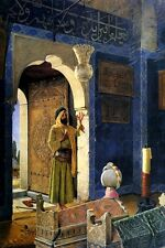 OLD MAN IN FRONT OF A CHILD'S TOMB ARAB PAINTING BY OSMAN HAMDY BEY WEEKS REPRO