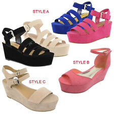 LADIES WOMENS STRAPPY FLATFORM PLATFORM WEDGES SUMMER SANDALS LOW SHOES SIZE