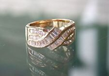 2CT 24K GOLD EP CUBIC ZIRCONIA SWIRL RING BAGUETTE SIZE 5 6 7 8 9