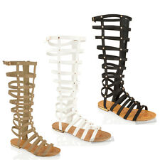 WOMENS LADIES KNEE HIGH CUT OUT FLAT GLADIATOR SANDALS SUMMER STRAPPY SHOES SIZE