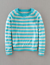 Boden Women's Brand New Fine Cashmere Jumper Turquoise Grey Stripe Luxury Knit
