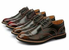 Retro Mens Dress Oxfords Wing Tip Lace up Rubber Sole leather Shoes