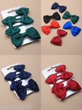 SLEEPIES & FORKED CLIP : SLIDES / SCHOOL WITH FABRIC BOW : CHOOSE COLOUR : 0024