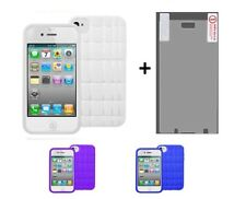 Flex TPU Silicone Case +Screen Protector Film For iPhone 4 4S