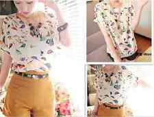 Womens Fashion Colorful Casual Birds Chiffon Batwing Loose Blouse T-Shirt Tops
