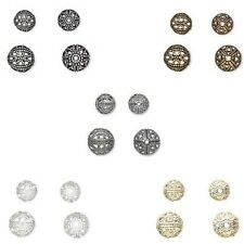 Lot of 100 Fancy Cut Out Filigree Round Spacer Beads Plated Over Brass Metal