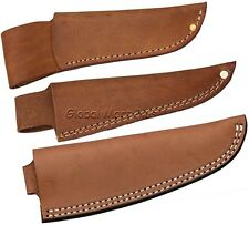 Knife Sheath Pouch Case Fixed Straight Blade Open Top Belt Loop Brown Leather