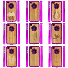 Hot Pink Case Red Rhinestones Bamboo Inlay Or Screen Guard For Apple iPhone 4 4S