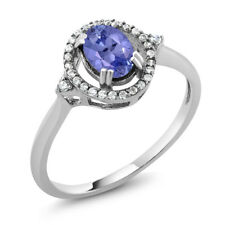 1.00 Ct Stunning Oval Natural Genuine Tanzanite 925 Sterling Silver Ring