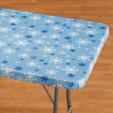 Snowflake Banquet Table Cover - Vinyl Tablecloth with Elastic Edges