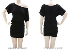 C3 BLACK RUCHED OFF the shoulder DRESS Short Sleeve Jersey Tunic Top Band S M L