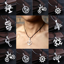 Hot New Retro Men's Stainless Steel Necklace Pendant Leather Chain Jewelry