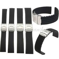 18/22/24mm Silicone Rubber Sport Waterproof Watch Band Strap Deployment Buckle