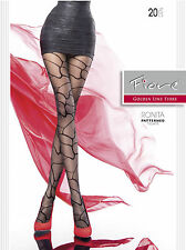 Sheer to Waist Patterned Soft Pantyhose Fiore Ronita New Black Size S M L