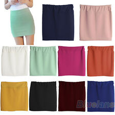 SOLID COLOR SEAMLESS STRETCH TIGHT SHORT FITTED BODYCON CLUBWEAR MINI SKIRT B8BK