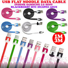 Flat Noodle Ribbon Micro USB Data Sync Cable Lead Charger for HTC