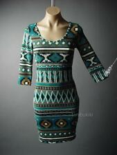 Desert Southwest Ikat Tribal Tapestry Soft Sweater Knit Sheath 83 df Dress M L