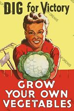 "Vintage Wartime Poster WW2 ""DIG FOR VICTORY""Grow Your Own Vegetables re-print"