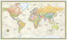 RMC Classic World Wall Map Mural Poster - CANVAS